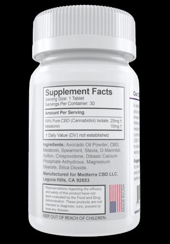 Medterra 25 mg dissolvable sleep tablets